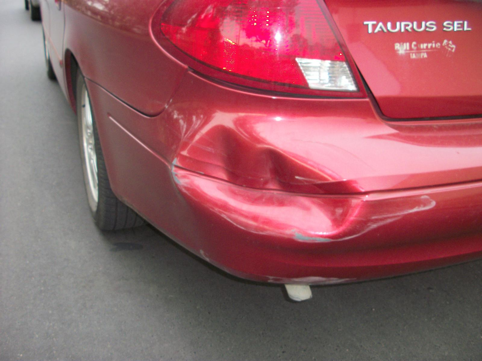 Massive Rear Bumper Dent Taurus Car Club Of America
