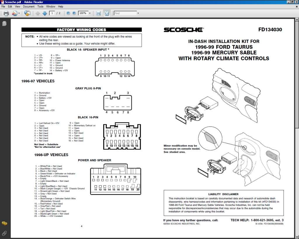 Ford Taurus Radio Wiring Diagram Windstar Library Harness Cmd5 2000 Aftermarket 1998