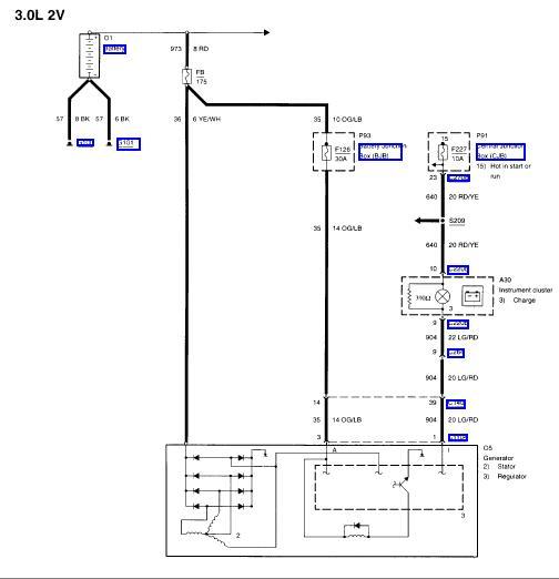 1988 Ford Ranger Alternator Wiring Diagram : Ford taurus alternator wiring diagram schematic