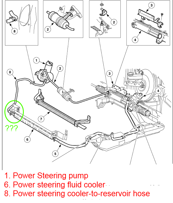 Which hose is the power steering cooler-to-reservoir hose ...